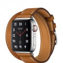 Apple Watch Series 4 (GPS + Cellular) Hermès Stainless Steel Case with Fauve Barenia Leather Double Tour