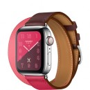 Apple Watch Series 4 (GPS + Cellular) Hermès Stainless Steel Case with Bordeaux/Rose Extrême/Rose Azalée Swift Leather Double Tour