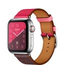 Apple Watch Series 4 (GPS + Cellular) Hermès Stainless Steel Case with Bordeaux/Rose Extrême/Rose Azalée Swift Leather Single Tour