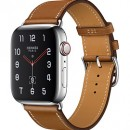 Apple Watch Series 4 (GPS + Cellular) Hermès Stainless Steel Case with Fauve Barenia Leather Single Tour