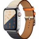 Apple Watch Series 4 (GPS + Cellular) Hermès Stainless Steel Case with Indigo/Craie/Orange Swift Leather Single Tour