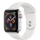 Apple Watch Series 4 (GPS + Cellular) Stainless Steel Case with White Sport Band