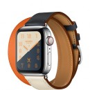 Apple Watch Series 4 (GPS + Cellular) Hermès Stainless Steel Case with Indigo/Craie/Orange Swift Leather Double Tour